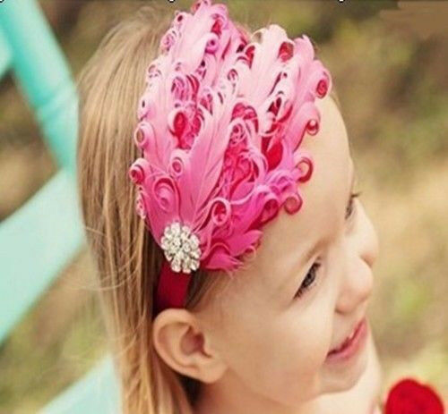 BABY Girl/'s Head band feather Flower Christmas Hairwear New Gift For baby  @