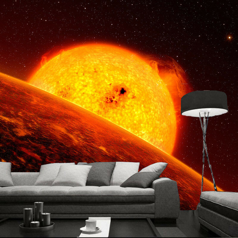 3D Flame Sun Universe 5 Wallpaper Wall Print Decal Wall Decor Indoor Mural Lemon