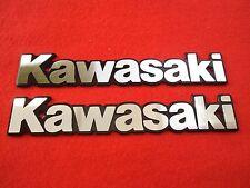 KAWASAKI Classic Retro Metal Tank Emblem Badge SILVER + BLACK x 2 *UK STOCK*