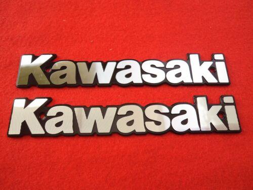BLACK *** UK STOCK *** Kawasaki Retro Metal Emblem Badge Fuel Tank SILVER