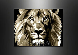 modern brown and white lion head abstract oil painting canvas wall