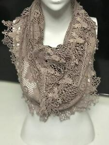 Women-wrap-scarf-shawl-Cotton-Crochet-Lace-triangle-Purple-Khaki-Purple