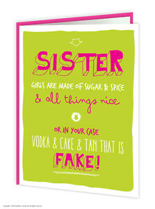 Image Is Loading Brainbox Candy Sister Sis Birthday Greeting Cards Funny