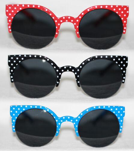 Cateye Sonnenbrille Halbschale 50er Jahre Pinup Retro Polka Dots Vintage 809