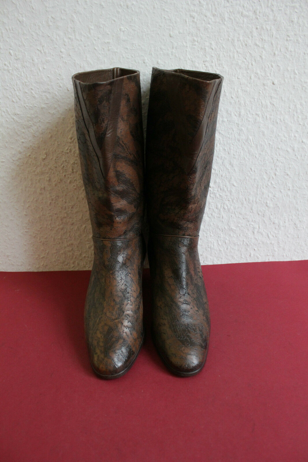 Vintage Shelby bota botas High made in italy cuero genuino tonos marrón 37,5 hasta 38