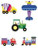 Olive Kid Trains Planes Trucks Tractors 25 Kids Wallies Wallpaper Stickers Decal