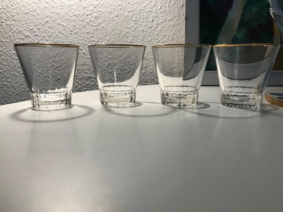 Glas, 4 sjus-glas / Drinks glas, Med guldkant