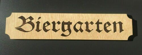 "Wood Sign  ~ 19/"" x 4/"" x 1//2/"" Laser engraved and CNC cut BIERGARTEN"