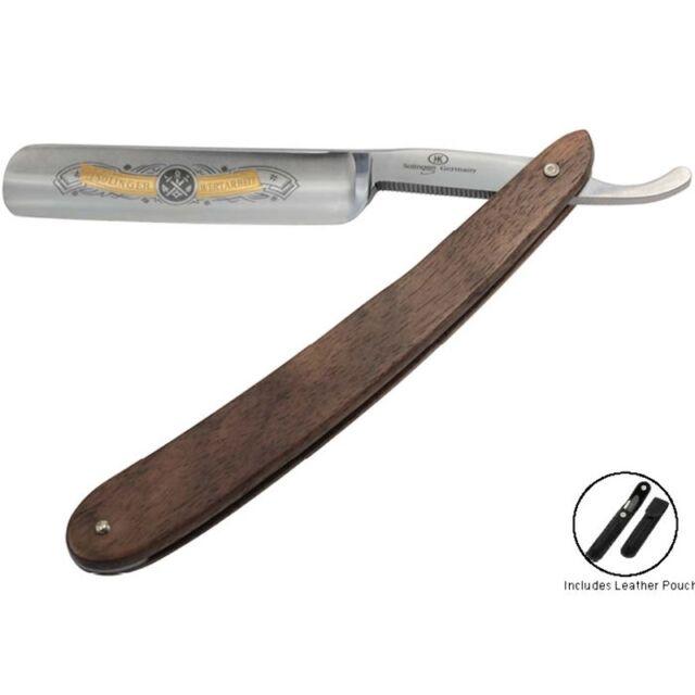 "HK Solingen Straight Razor 5/8"" Walnut Leather Set German Made Cut Throat"