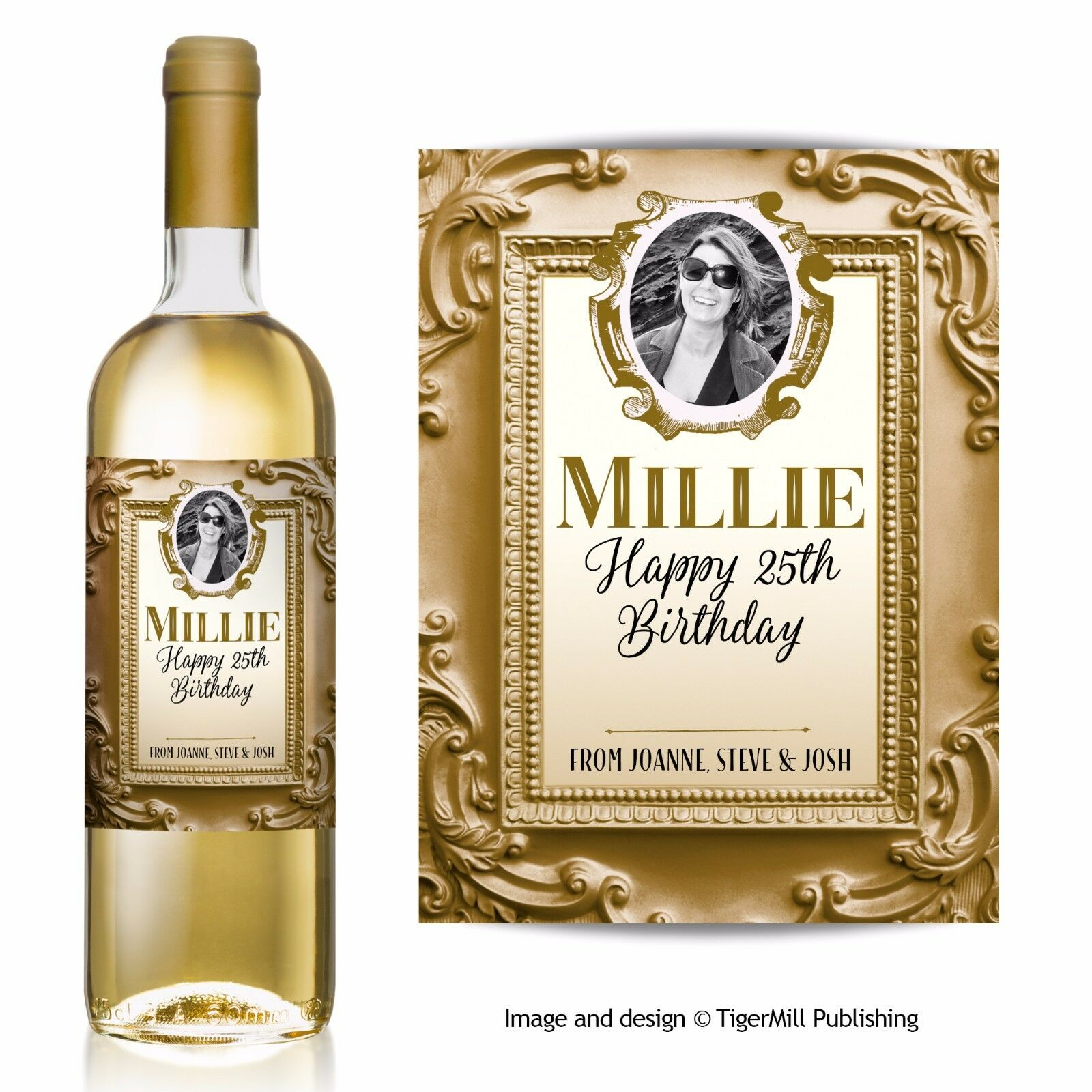 PERSONALISED gold photo wine label Birthday Engagement Wedding Anniversary gift