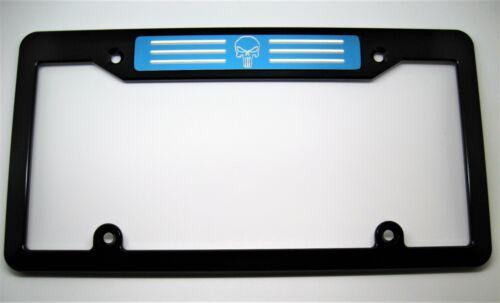 Billet Aluminum License Plate Frame PUNISHER Black BLUE BADGE TOP