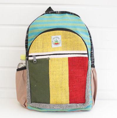Hemp Rasta backpack rucksack school travel laptop Handmade organic bag to school