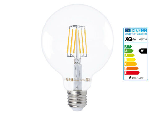 600 Lumen 6 Watt 2700 Kelvin LED Filament Leuchtmittel Kugel E27-Sockel