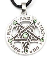 Pewter Inverted Pentagram Pagan Wiccan Peridot Crystal August Birthstone Pendant