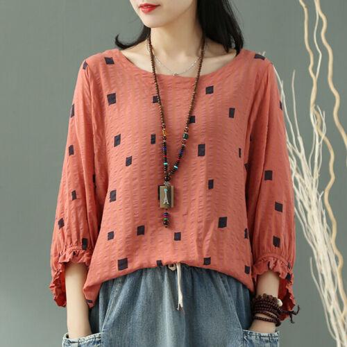 Women Lantern Sleeve Frill Square Dot Shirt Tops Round Neck Batwing Blouse Plus