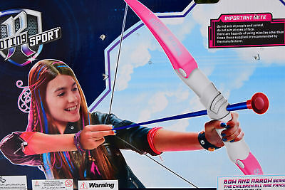 PINK GIRLS ARCHERY BOW AND ARROW SET 3 SUCTION CUP ARROWS SUITABLE FOR 6+
