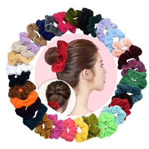 Wholesale-Lots-Velvet-Hair-Scrunchies-Elastic-Hair-Band-HairTies-Bun-Ponytail-UK