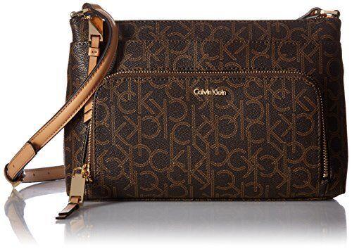 992bcb6c9d012 Calvin Klein Womens Monogram Zip Crossbody Bag Brown khaki camel for sale  online