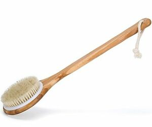 Premium Natural Bristle Wooden Bath Shower Body Back Dry Skin Brush Spa Scrubber