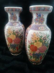Lot-of-2-Oriental-Gold-Guilded-Flower-10-034-H-JAPANESE-SATSUMA-VASE-Beautiful