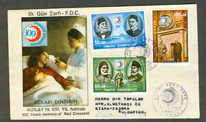 Turkey-1968-Covers-034-Red-Cross-034-FDC-to-Bulgaria