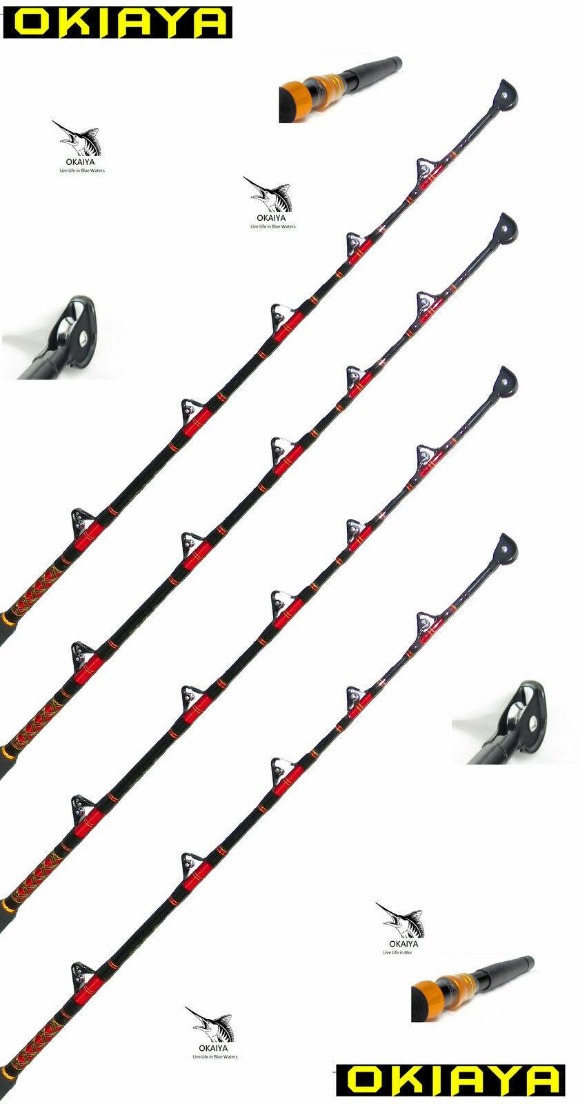 Okiaya Composit 80-130lb Agua Salada Grandes Juego Roller Rod Set De 4