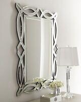 Contemporary Frameless Elegant Openwork Wall Mirror Beveled 42h
