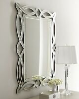 Contemporary Frameless Elegant Openwork Wall Mirror Beveled 42h