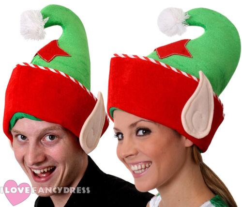 6 x cappelli con orecchie Elfo Natale Costume Accessorio Santas Helper