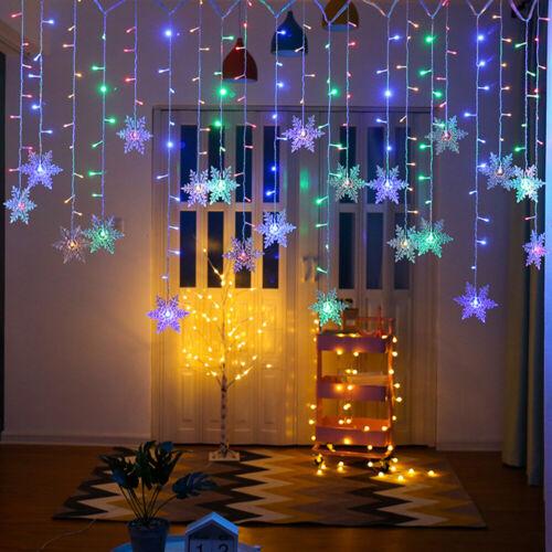 LED Snowflake Fairy String Lights Curtain Window Christmas Party Wedding Decor