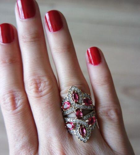 Turkish Handmade Jewelry Sterling Silver 925 Ruby Ring Ladies 6 7 8 9