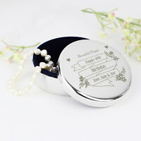 Small Personalised Garden Bloom Round Silver Plated Jewellery Trinket Box Gift