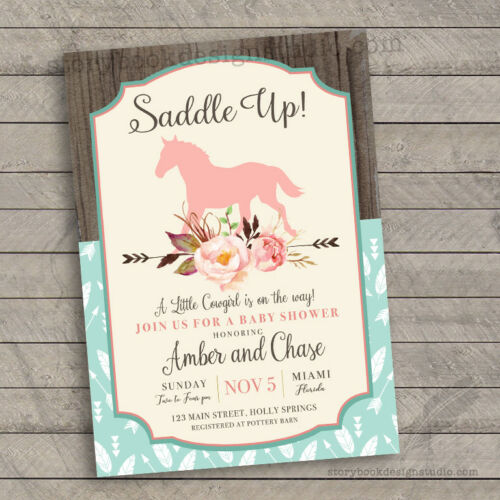 Saddle Up Baby Shower Invitations /Rocking Horse Country Chic/ Set of 10 PRINTED