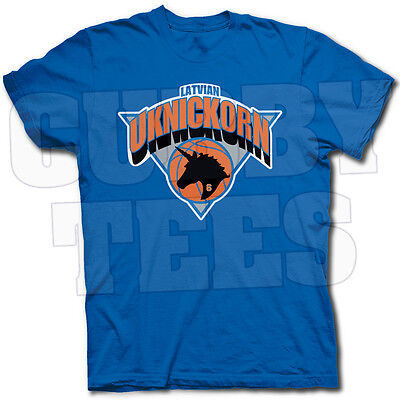 "BLACK Kristaps Porzingis New York Knicks /""Logo/"" T-shirt  S-5XL"
