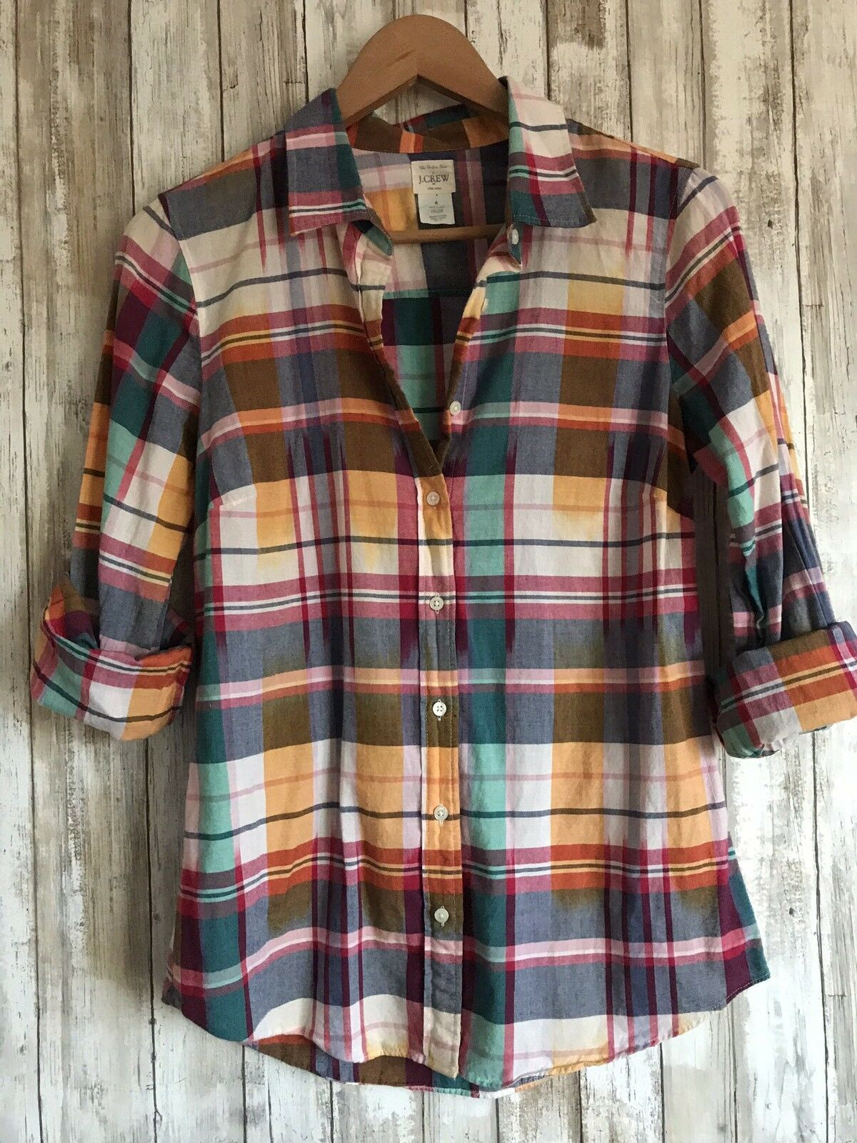 J Crew Perfect Shirt Long Sleeve Button Down Summer Plaid Print S Small  RARE