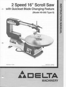 Delta 40 560 2 speed 16 scroll saw instruction manual ebay image is loading delta 40 560 2 speed 16 034 scroll keyboard keysfo Images