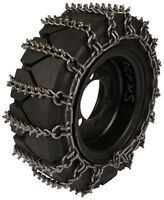 10x16.5 Skid Steer Tire Chains 8mm Studded 2-link Spacing Bobcat Traction