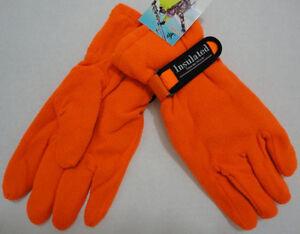 12 Pairs Mens HUNTER ORANGE Fleece Gloves WARM Thermal Insulated Winter Glove