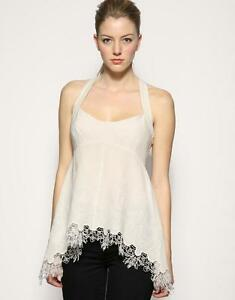 New-KAREN-MILLEN-Silk-BNWT-99-Lace-Embroidered-Party-Evening-Top-Blouse-SALE
