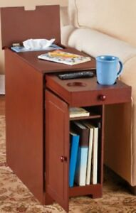Image Is Loading Narrow End Table Magazine Rack Coffee Snack Tray