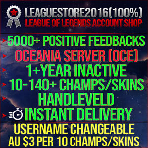 League of Legends Account LOL OCE Unranked Lvl 30 All Champs Smurf BE Skins Acc
