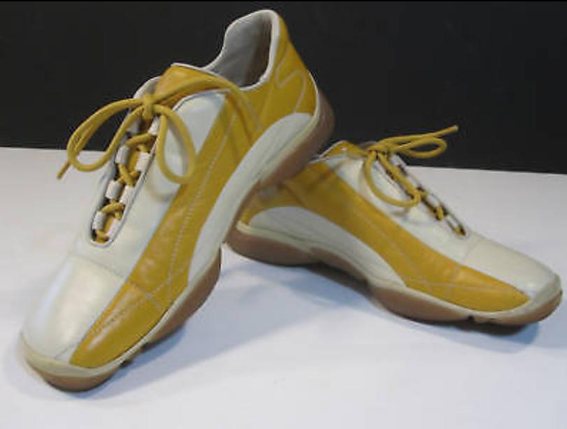 Donna Prada Scarpe da Ginnastica Shoes Gold & Tan Size 8.5