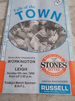5.1.92 Workington Town v Leigh programme