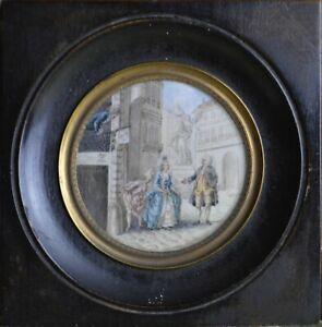 """Miniature dans le gout XVIIIème. Érotique."""" Scène de genre."""" Signée Moreau."""