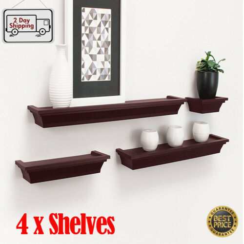 Set of 4 Floating Shelves Wall Mount Shelf Photo Display Storage Home Decor
