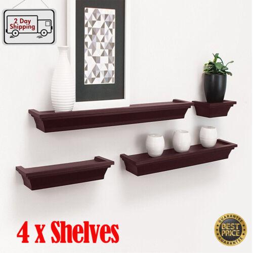 Set of 4 Floating Shelves Wall Mount Shelf Photo Display Storage Home Decor