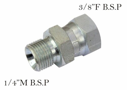 """Pressure Washer /& Hydraulic F To M Plated Steel Coupling Size 1//4/""""M x 3//8/""""F"""
