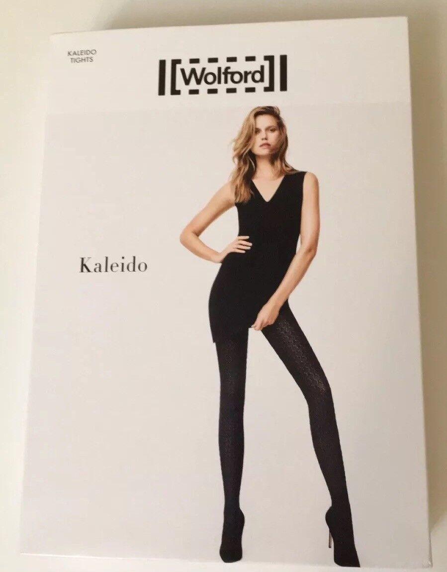 WOLFORD KALEIDO Tights Pantyhose MIDNIGHT Sz L NIP 14621 Fits Size 14 16