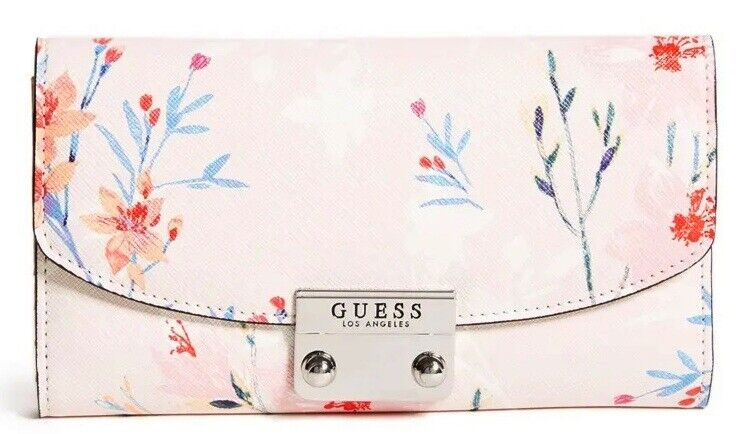 NEW Guess Women's Leona Blush Pink Floral Print Trifold Wallet Clutch Bag