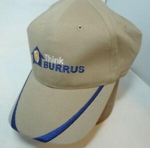 Vintage-90s-BURRUS-SEEDS-Farmers-Snapback-Hat-Cap-Embroidered-Navy-Khaki-Winter